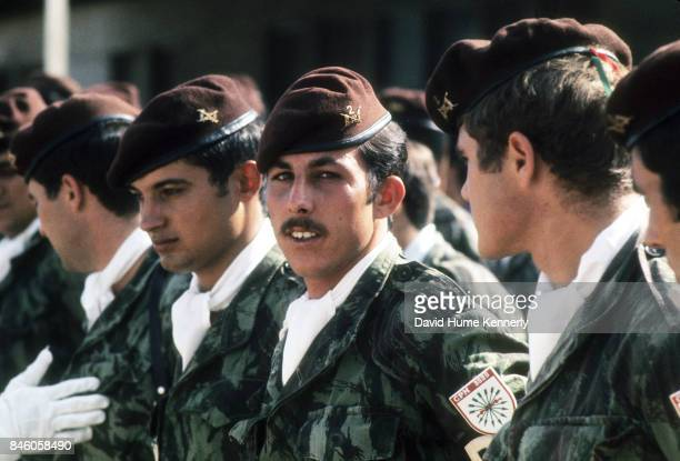 View of Colonial Portuguese Military Police as they wait for review, Nampula, Cabo Delgado Province, Mozambique, July 23, 1973. The country gained...