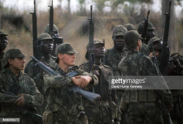 View of Colonial Portuguese soldiers lined up for inspection during the Mozambican War of Independence Ancuabe Cabo Delgado Province Mozambique July...