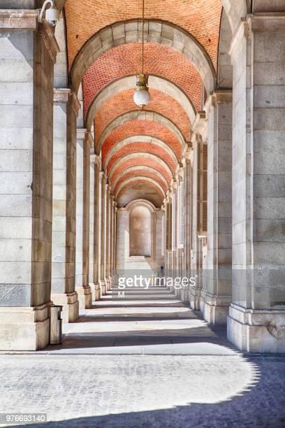 view of colonnade, madrid, spain - arco architettura foto e immagini stock