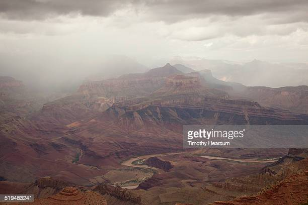 view of colorado river and grand canyon, south rim - timothy hearsum stock-fotos und bilder