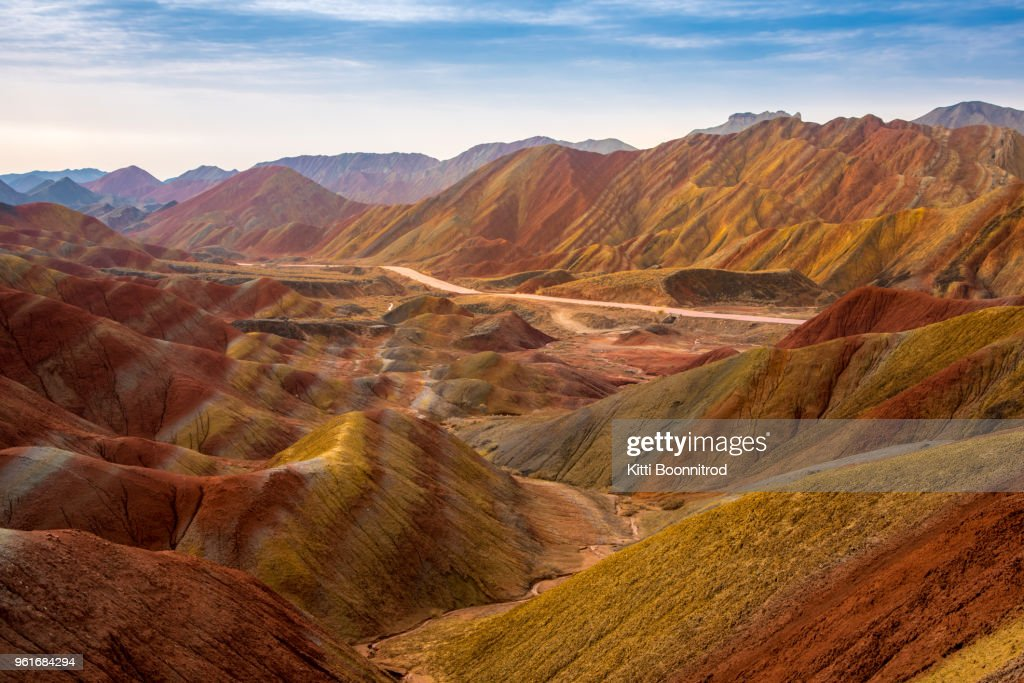 View of Colourful mountains of the Zhangye National Geopark, China : ストックフォト