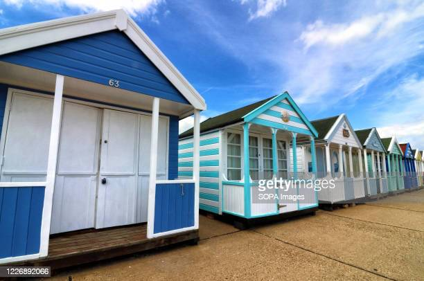 A view of colourful Southwold beach huts With the beaches in England now fully opened with only social distancing measures in force people are taking...