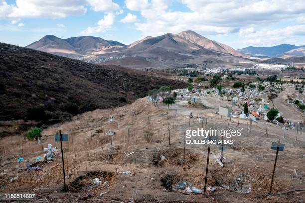 View of common graves needed due to the increase in the number of murders in the past months at a cemetery in Tijuana Baja California State Mexico on...
