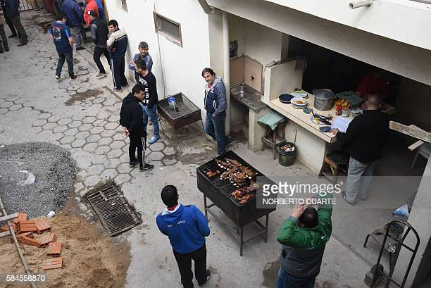 View of common spaces near Brazilian drug trafficker Jarvis Chimenes Pavao's cell at Tacumbu prison in Asuncion on July 28 2016 Three rooms a plasma...