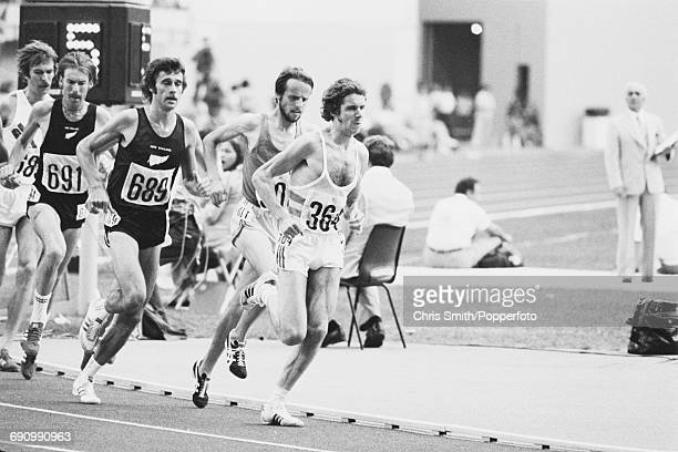 View of competition in the final of the Men's 5000 metres event with from left Knut Kvalheim of Norway silver medallist Dick Quax of New Zealand Rod...