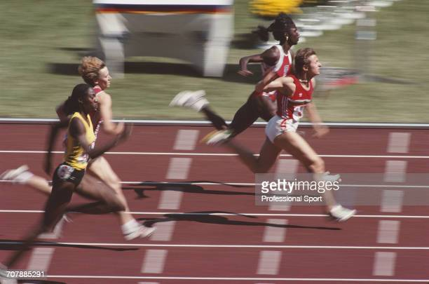 View of competition in the heats of the Women's 200 metres event with Merlene Ottey of Jamaica in lane 6 Nadezhda Georgieva of Bulgaria in lane 4 and...