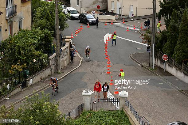 A view of competitors as they ride on the bike leg during the Challenge Triathlon Vichy on August 31 2014 in Vichy France