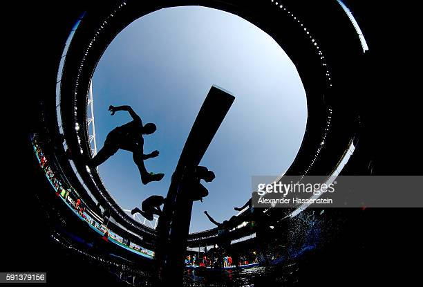 A view of competitors during the Men's 3000m Steeplechase Final on Day 12 of the Rio 2016 Olympic Games at the Olympic Stadium on August 17 2016 in...