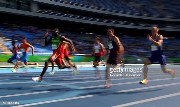 View of competitors during the Men's Decathlon 100m - Heat 1 on Day 12 of the Rio 2016 Olympic Games at the Olympic Stadium on August 17, 2016 in Rio...