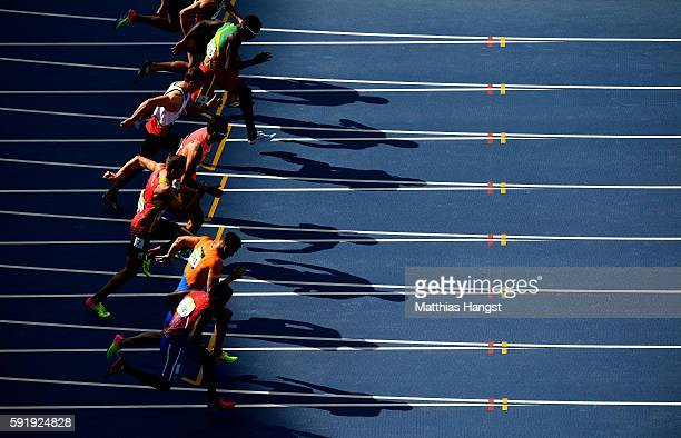 A view of competitors during the Men's Decathlon 100m on Day 12 of the Rio 2016 Olympic Games at the Olympic Stadium on on August 17 2016 in Rio de...