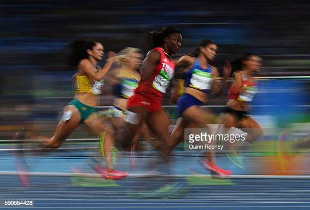A view of competitors during the Women's 200m Semifinals on Day 11 of the Rio 2016 Olympic Games at the Olympic Stadium on August 16 2016 in Rio de...