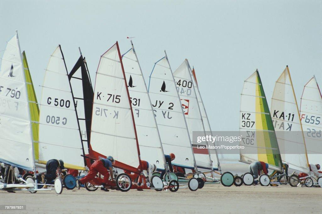 Land Sailing On Blackpool Beach : News Photo