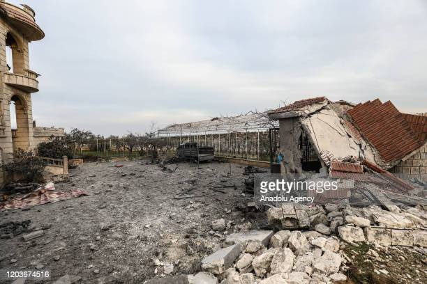 A view of completely damaged building after Assad regime attacks in residential area in Idlib Syria on February 27 2020 11 civilians including 5...