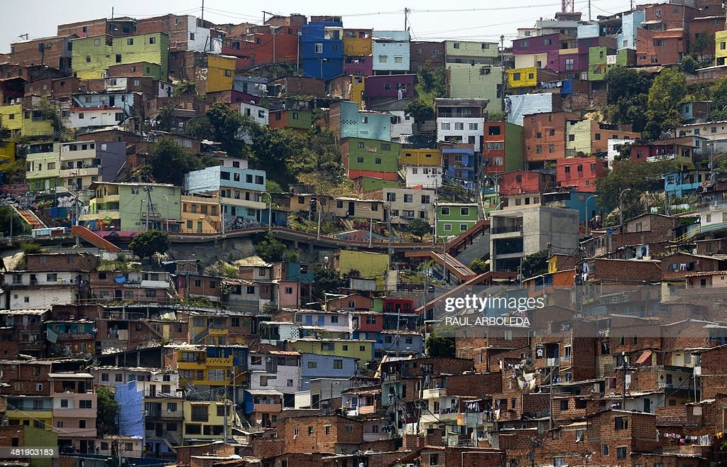 View Of Comuna Shantytown One Of The Poorest Areas Of Medellin - The porest