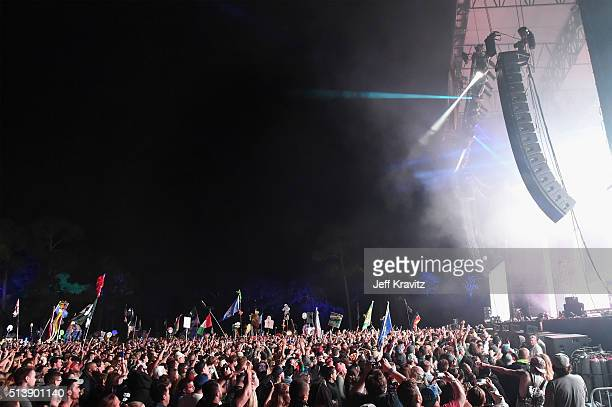 A view of concert goers during Bassnectar at the Okeechobee Music Arts Festival Day 2 on March 4 2016 in Okeechobee Florida