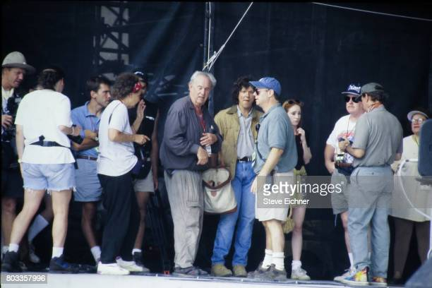 View of concert promotors Michael Lang and John Scher among others at the Woodstock '94 festival Saugerties New York August 14 1994