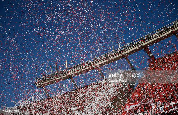 View of confetti falling prior to a match between River Plate and Boca Juniors as part of sixth round of Torneo Transicion 2016 at Monumental Antonio...
