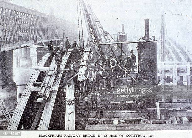 View of construction work taking place at Blackfriars Railway Bridge London c1864 for the London Chatham and Dover Railway