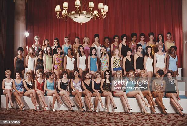 View of contestants competing for the Miss World 1967 beauty pageant dressed in swimwear and lined up at the Lyceum Ballroom in London on 10th...