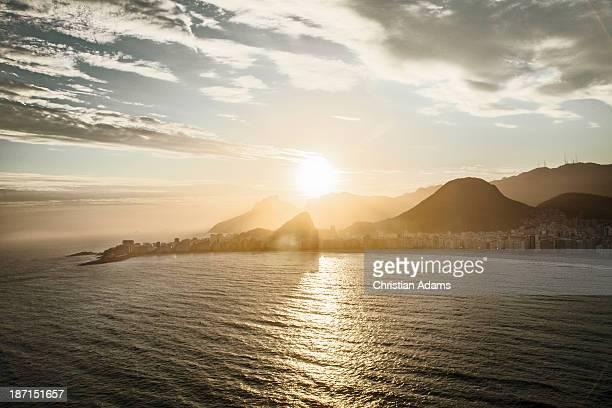 View of Copacabana beach at sunset