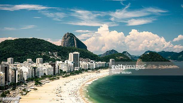 view of copacabana beach, rio de janeiro, brazil - copacabana beach stock pictures, royalty-free photos & images