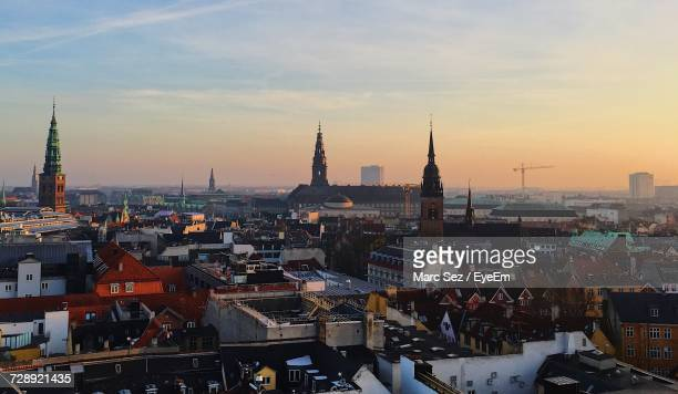 View Of Copenhagen Cityscape Against Sky