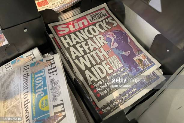 View of copies of the Sun newspaper on a newsstand on June 25, 2021 in London, England. The paper has run an exclusive that suggests the Health...