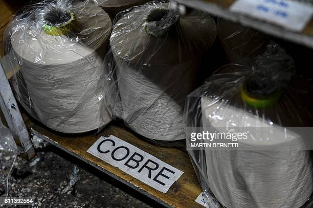 View of copper thread coils in a factory in Santiago on August 14 2016 With the low price of copper Chile develops other uses for the red metal based...