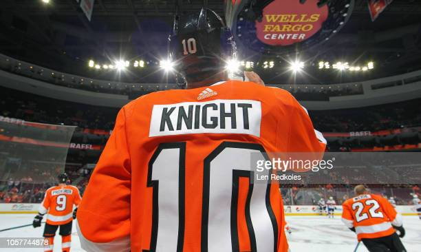 A view of Corban Knight of the Philadelphia Flyers during warmups against the Florida Panthers on October 16 2018 at the Wells Fargo Center in...