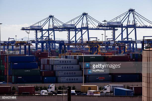 A view of COSCO owned dock and yard in Piraeus on March 4 2015 China Ocean Shipping Company known as COSCO is the company in charge of transportation...