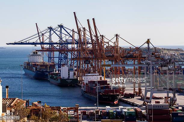 View of COSCO owned dock and yard in Piraeus on March 4, 2015. China Ocean Shipping Company, known as COSCO , is the company in charge of...