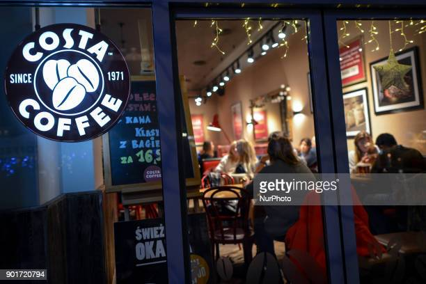 A view of Costa Coffee in Krakow's Main Square On Friday 5 January 2018 in Krakow Poland