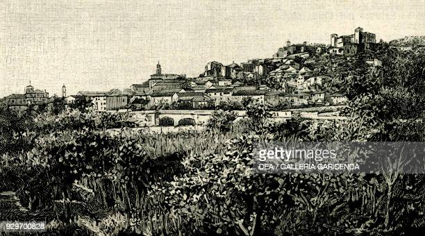 View of Costigliole d'Asti Piedmont Italy woodcut from Le cento citta d'Italia illustrated monthly supplement of Il Secolo Milan 1894