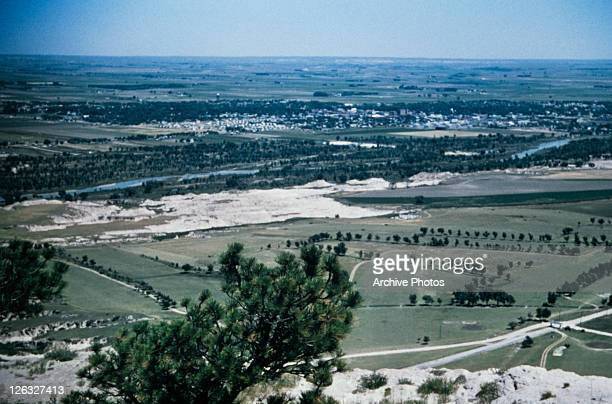A view of countryside from Scotts Bluff National Monument Nebraska USA circa 1970