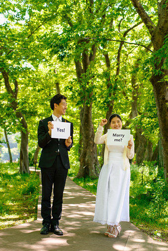 View of couple proposing marriage - gettyimageskorea
