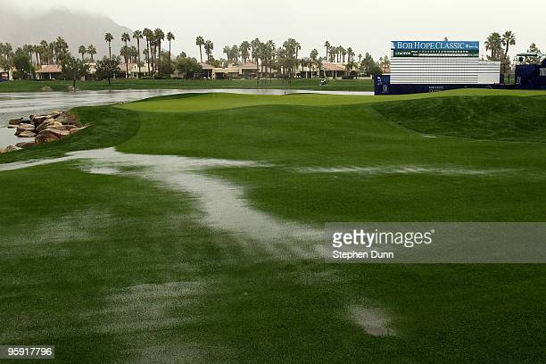 A view of course conditions on 18th hole of the Palmer Private Course at PGA West before the rain delayed second round of the Bob Hope Classic on...