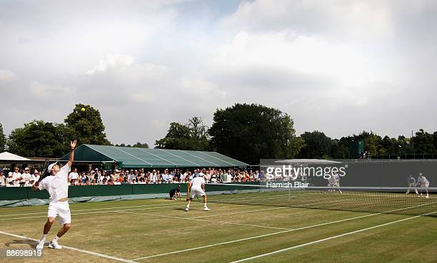 A view of court 5 during the men's doubles second round match between Johan Brunstrom of Sweden and JeanJulien Rojer of Netherlands Antilles and Bob...