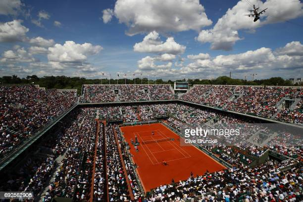 A view of Court Chatrier during the men's singles fourth round match between Stan Wawrinka of Switzerland and Gael Monfils of France on day nine of...