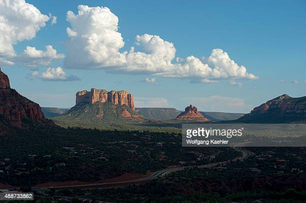 View of Courthouse Butte and Bell Rock Butte from the Airport Mesa Loop trail in Sedona Arizona USA