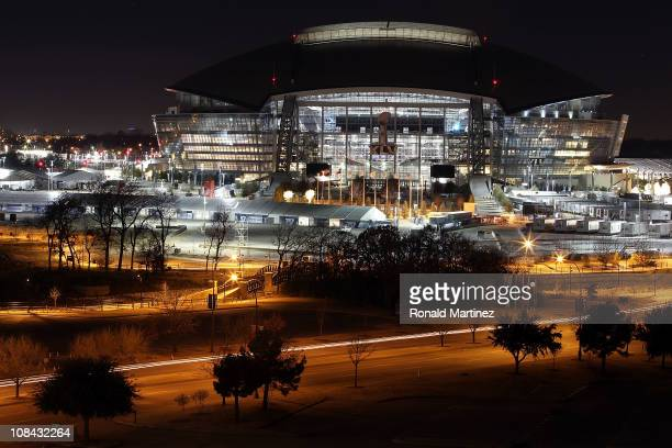 View of Cowboys Stadium at night on January 26, 2011 in Arlington, Texas. North Texas will host Super Bowl XLV between the Pittsburgh Steelers and...