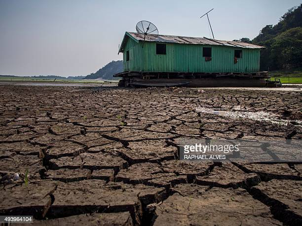 View of cracked soil on the bed of the Aleixo Lake in the rural area of Manaus Amazonas Brazil on October 23 2015 The lake located in front of the...