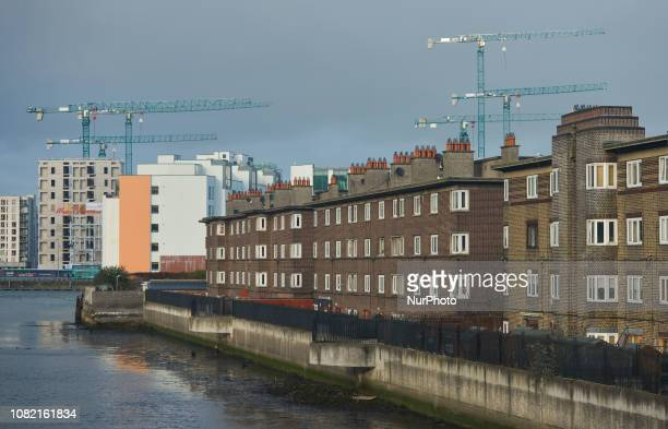 A view of cranes near a Quay on the banks of the River Liffey seen from Irishtown in Dublin In two days a historic vote on Prime Minister Theresa...