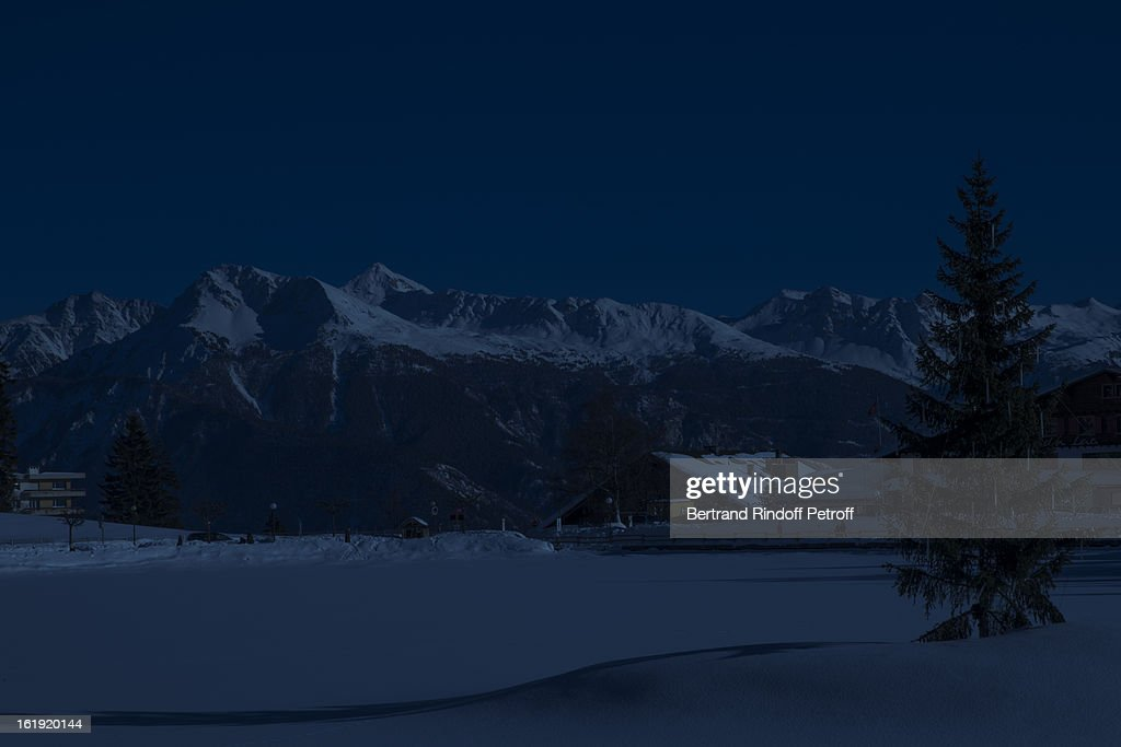 A view of Crans-Montana prior to the 30th edition of 'La Nuit Des Neiges' Charity Gala on February 16, 2013 in Crans-Montana, Switzerland.