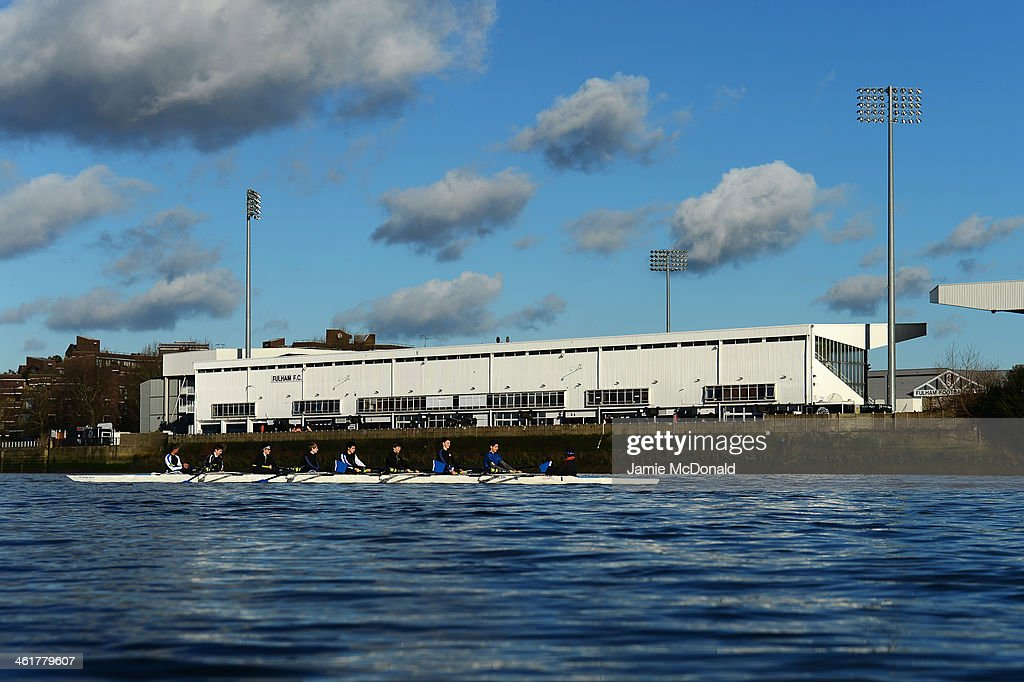 A view of Craven Cottage from the Putney side as rowers go past during the Barclays Premier League match between Fulham and Sunderland at Craven Cottage on January 11, 2014 in London, England.
