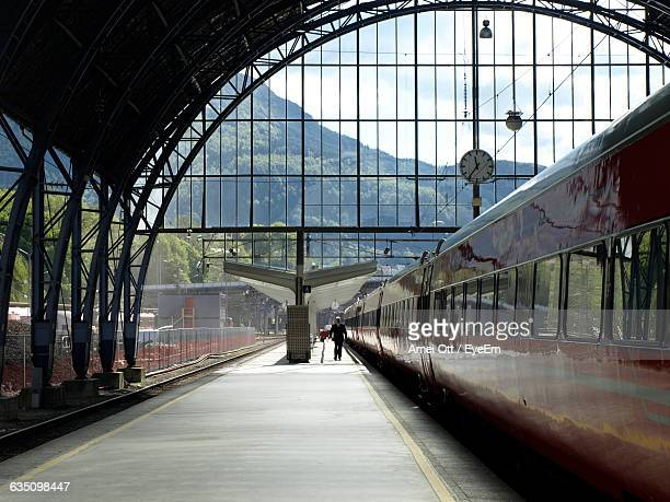 view of cropped train at railway station - rail transportation stock pictures, royalty-free photos & images