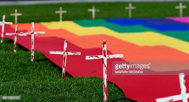 View of crosses displayed by Lesbian Gay Bisexual Transgender Transvestite and Intersex communities during the socalled Rose Prayer ceremony in honor...