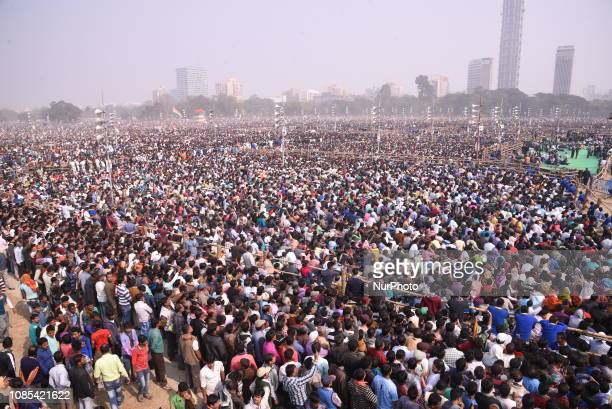 A view of crowd at All India Trinamool Congress political party Mega Rally on January 192019 in KolkataIndiaThe rally has been attended by the...