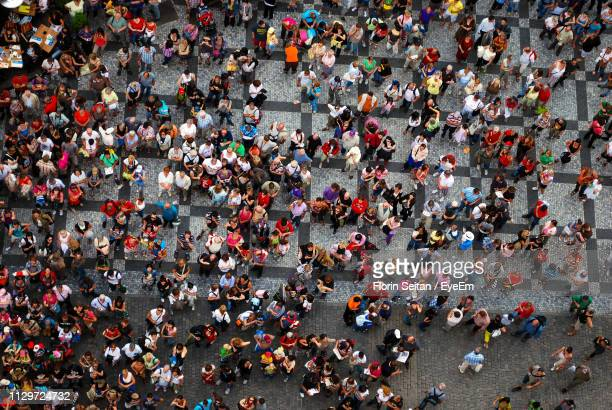 view of crowd on city street - florin seitan stock pictures, royalty-free photos & images