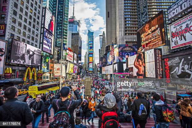 View of crowded Times Square in New York City