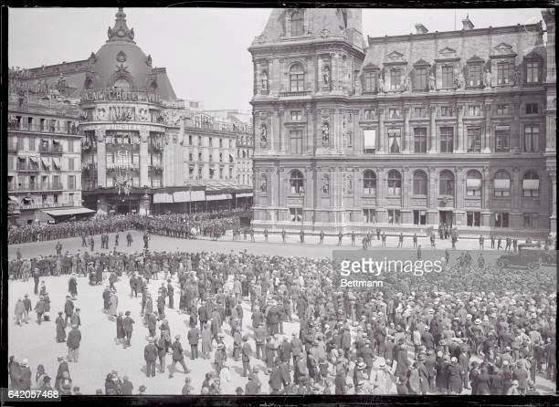 View of Crowds Awaiting Charles Lindbergh at City Hall of Paris